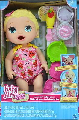 Hasbro Baby Alive Snackin Lily With Accessories Baby Alive Super Snacks Dolls