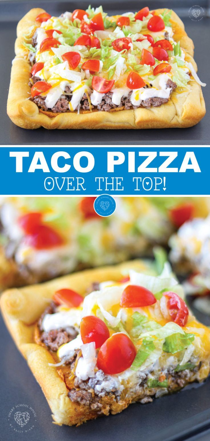 Have you ever heard of taco pizza? This recipe is easy and delicious! It is a great way to get the best of both worlds! It has the perfect chewy pizza crust with your favorite taco toppings. If you and your family love tacos and pizza, then you have to try this simple dinner recipe! #taco #pizza #recipes #dinner