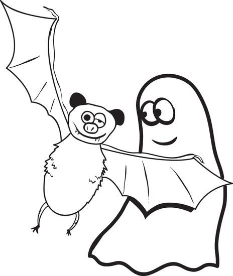 Printable Ghost And Bat Coloring Page For Kids Bat Coloring Pages Coloring Pages For Kids Halloween Coloring Pages