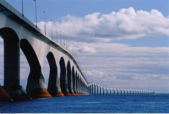 The Confederation Bridge (It is in Canada, and connect Price Edward Island to New Brunswick.    In Canada – on my honeymoon – I went across this bridge, shortly after it was in production.  I haven't been the same since.  You can't see the end – I think it is over 10 Miles long…over the St. Lawrence Seaway…  http://www.confederationbridge.com/en/our_story.php