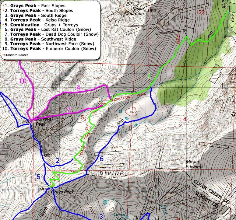 14ers • Grays Peak and Torreys Peak Route Maps