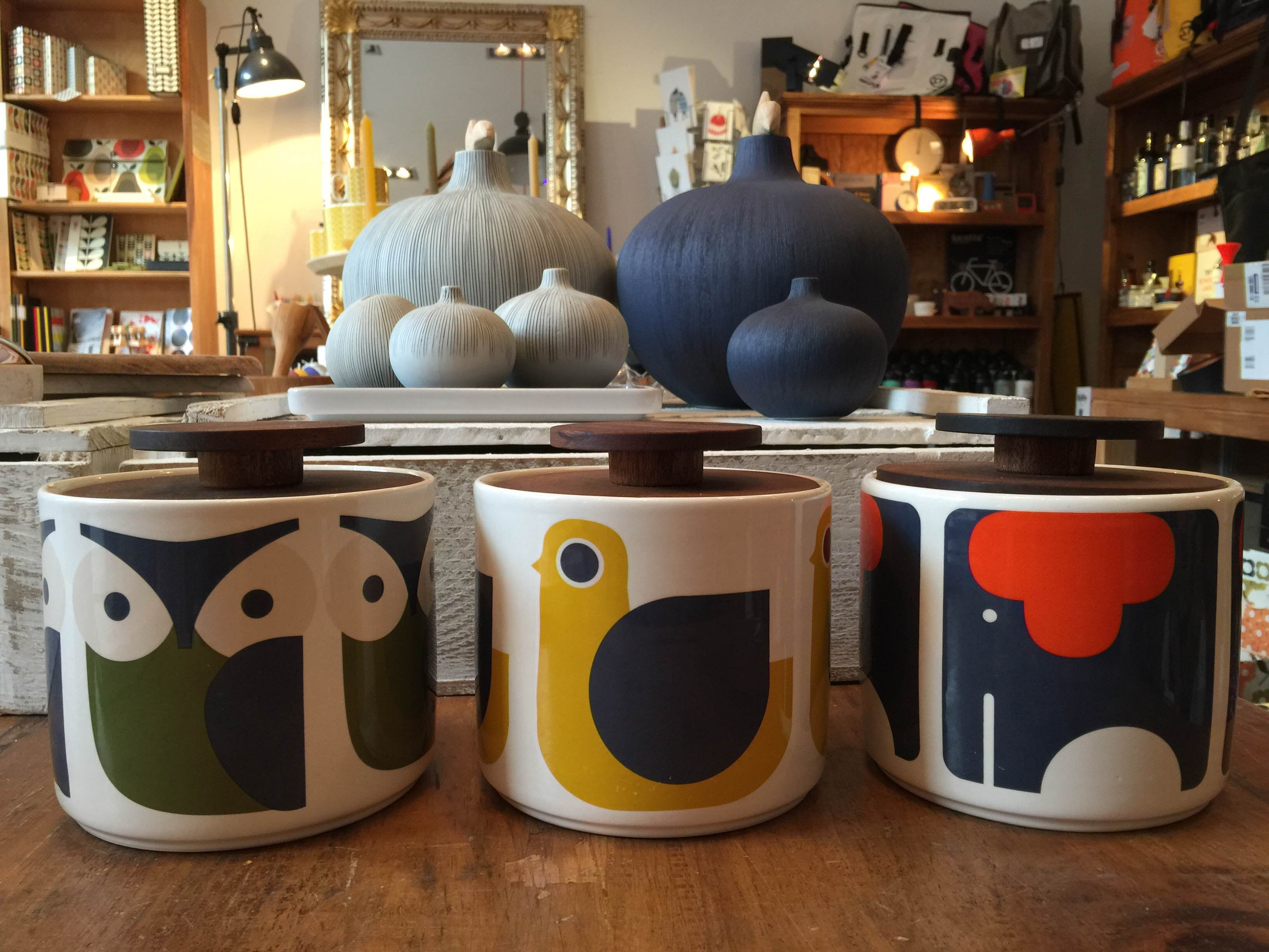 New Collection 2015 Orla Kiely Storage Jar Owl Bird Or Elefant At