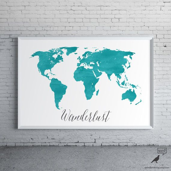 Blue Watercolor World Map Watercolor World Map Wanderlust Map