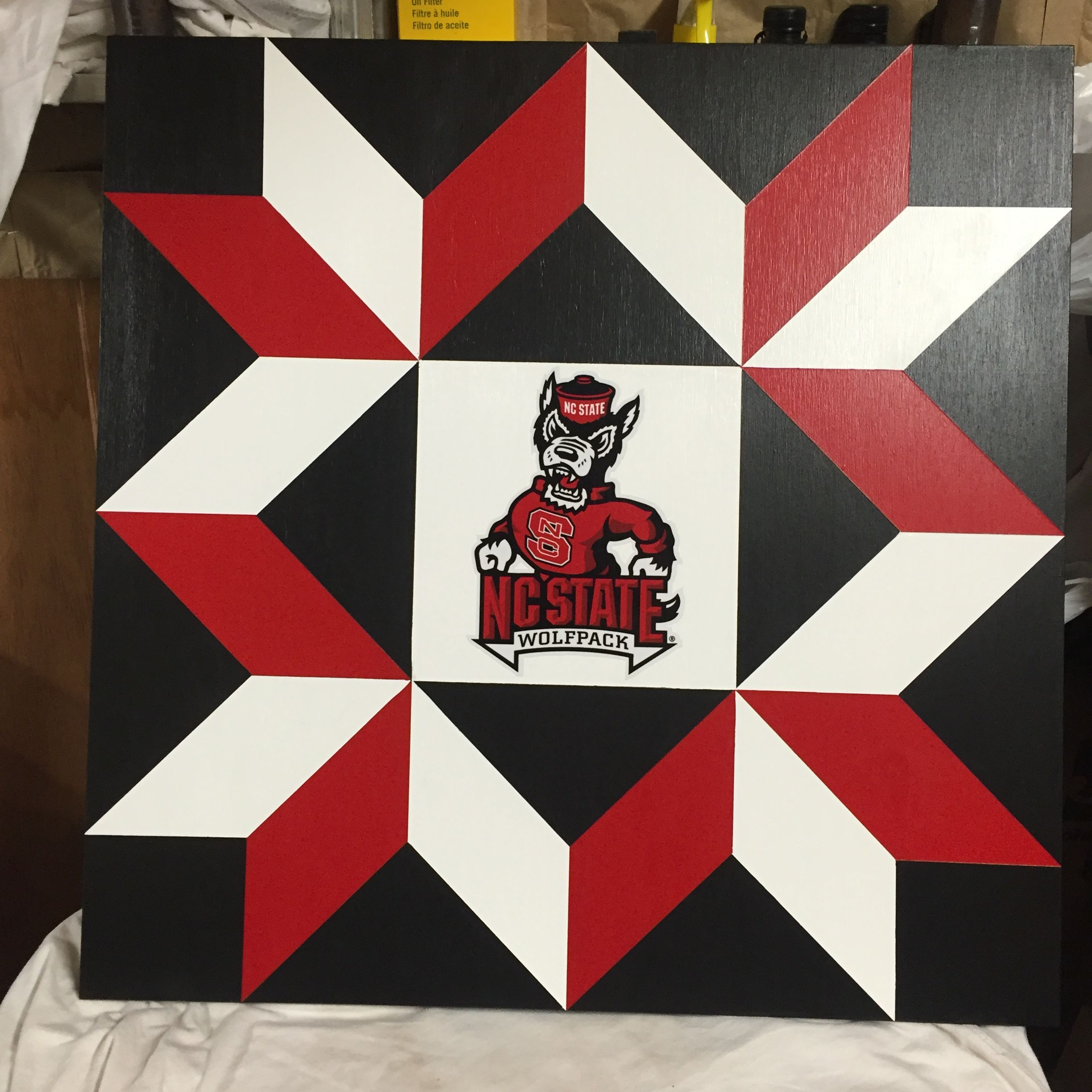 Beautiful 2 X 2 NC State Barn Quilt finished today Get your