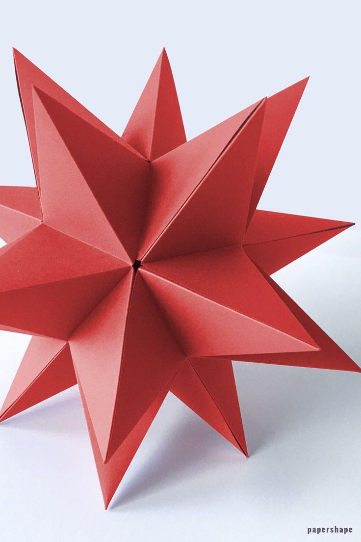 Riesen 3d Stern falten a la Bascetta ohne Zusammenstecken (mit kostenloser Vorlage)