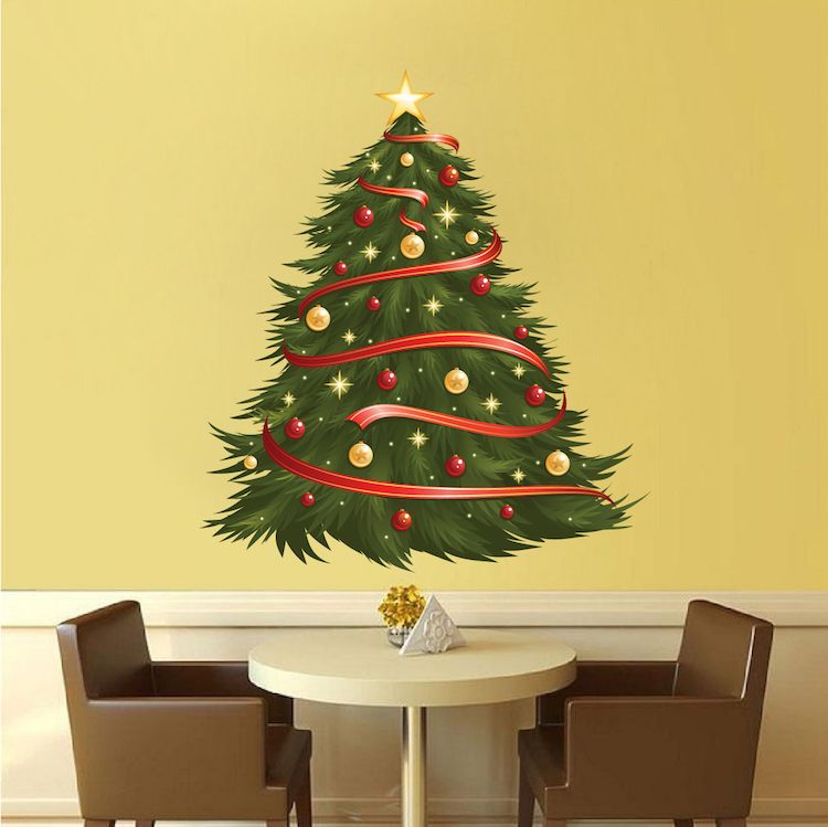 Fancy Christmas Tree Wall Decoration Vignette - Wall Art Collections ...
