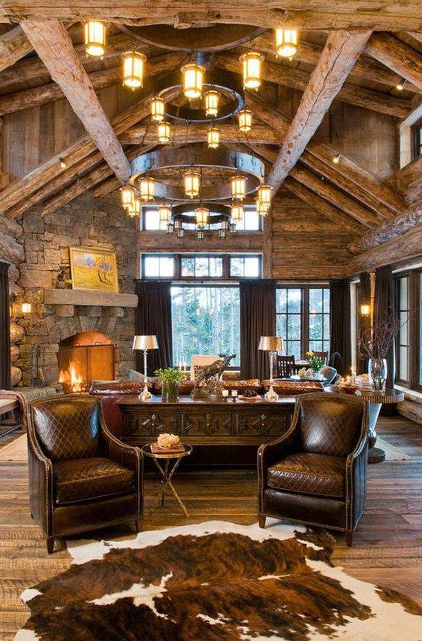 Rustic living room design ideas 12