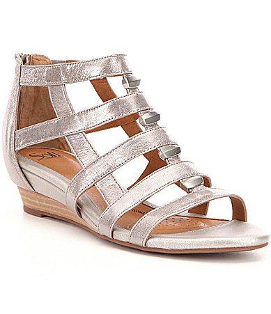f525af46c8ee Sofft Rio Leather Caged Metal Detail Low Wedge Gladiator Sandal  Dillards