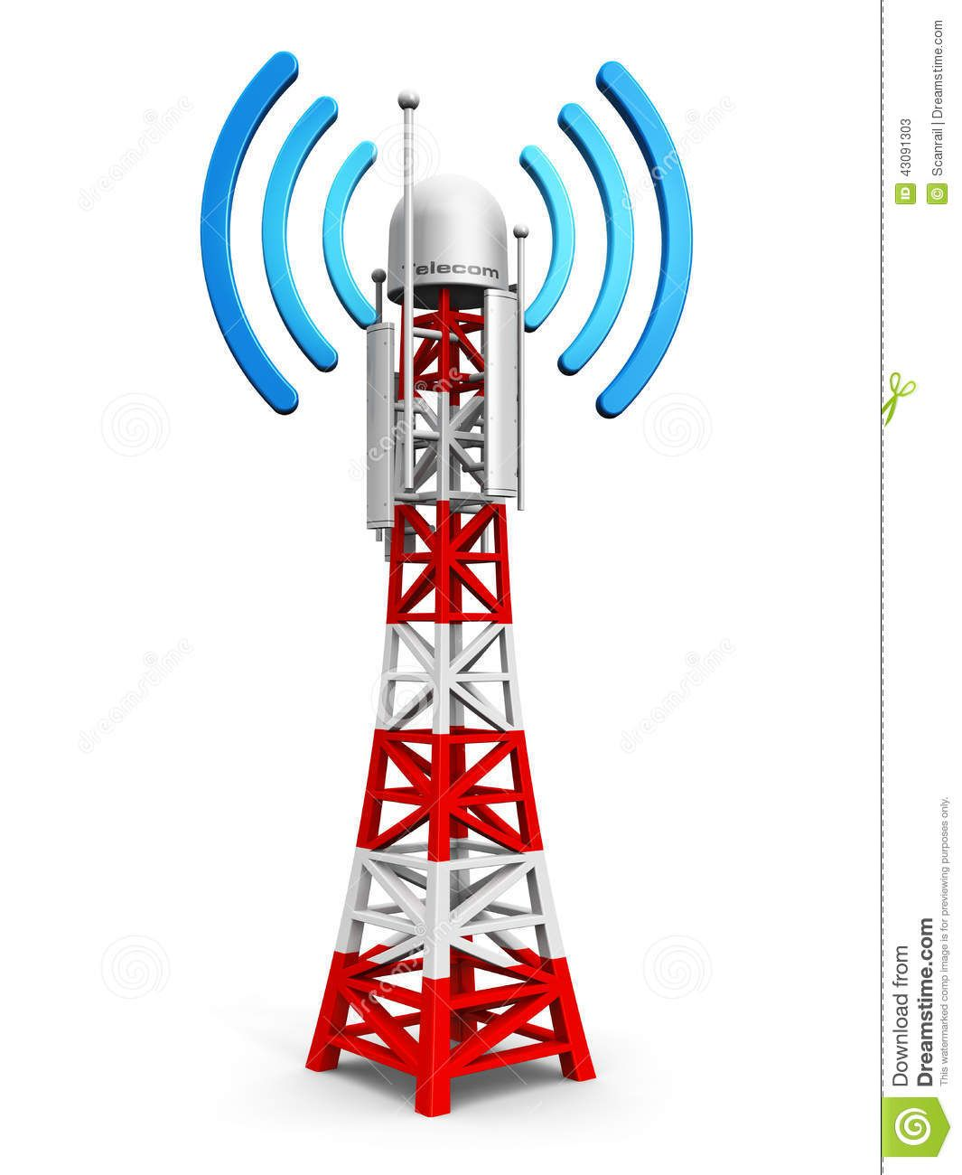 Un sitio de la c lula cuenta con una torre y antenas as for Disegno 3d free