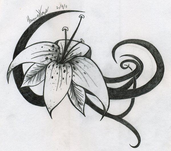 Tribal n Tiger Lily Tattoo Design | Tattoobite.com ...