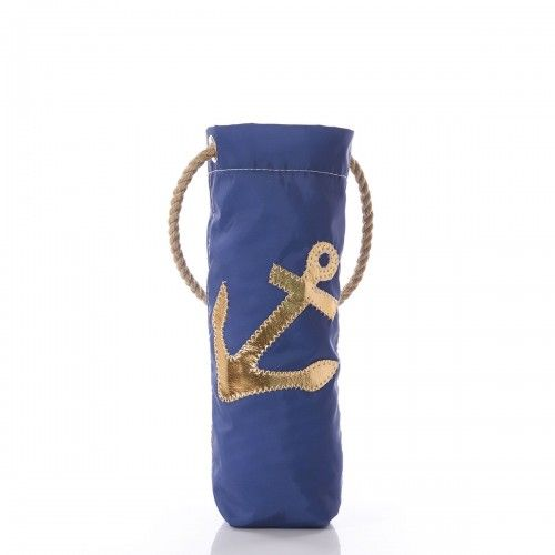 Gold Anchor on Navy Wine Bag
