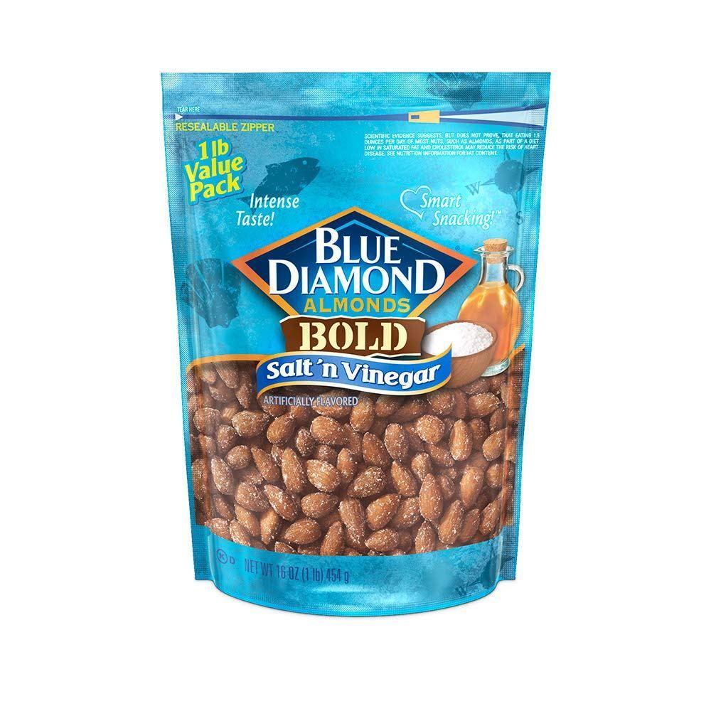 Blue Diamond Almonds Bold Salt N Vinegar 16 Ounce Keto Snacks