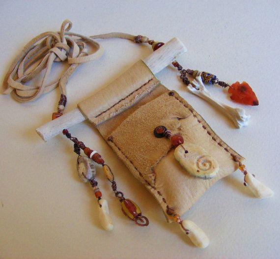 ELK MEDICINE tribal Shaman neck pouch Medicine Bag with Elk bone,leather, deer antler, antique beads, Carnelian Arrowhead