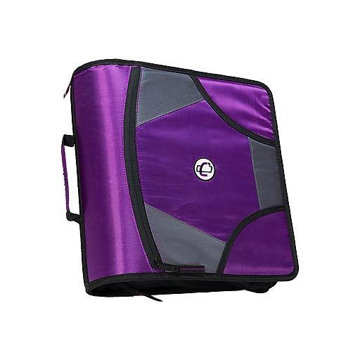 """Case-it King Sized Zip Tab 4"""" 3-Ring Zipper Binder, Purple"""