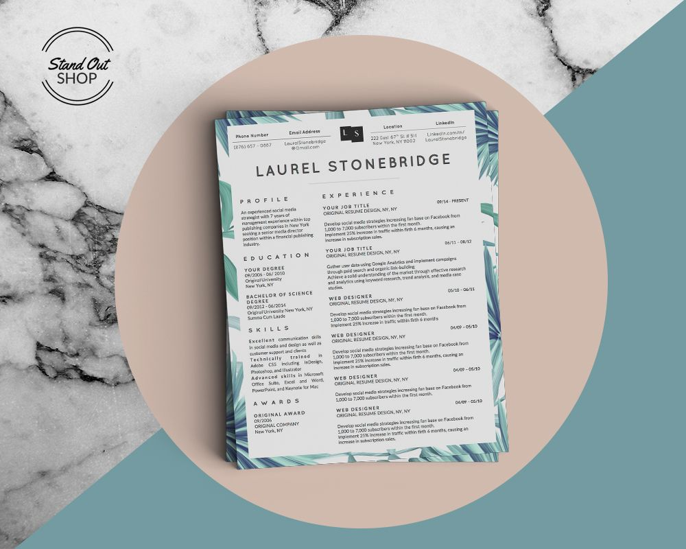 Palm leaf accent for a refreshed resume look