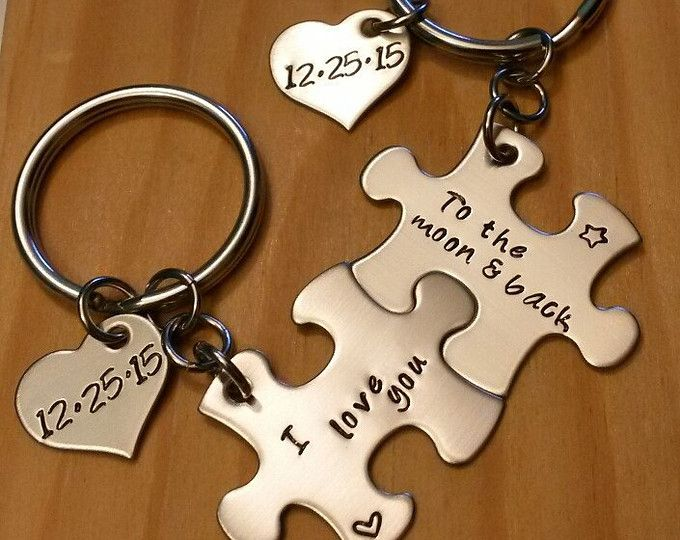 8edf84875f1d1 Hand Stamped Personalized Couples Puzzle Piece Keychains ...