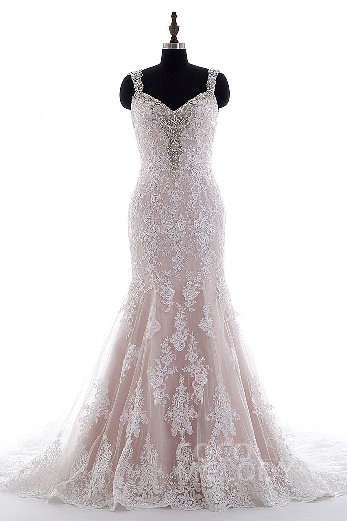 4b9ac7906b0c Gorgeous Trumpet-Mermaid Straps Natural Court Train Tulle and Lace  Ivory/Veiled Rose Sleeveless Open Back Wedding Dress with Appliques and  Beading LD3905