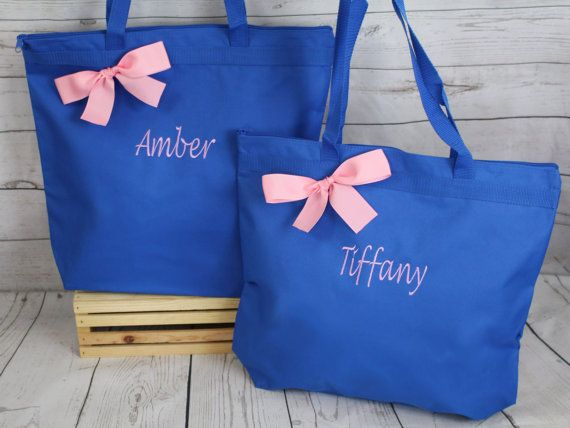 6 Personalized Zippered Tote Bag Bridesmaids Gift Bridesmaid Wedding