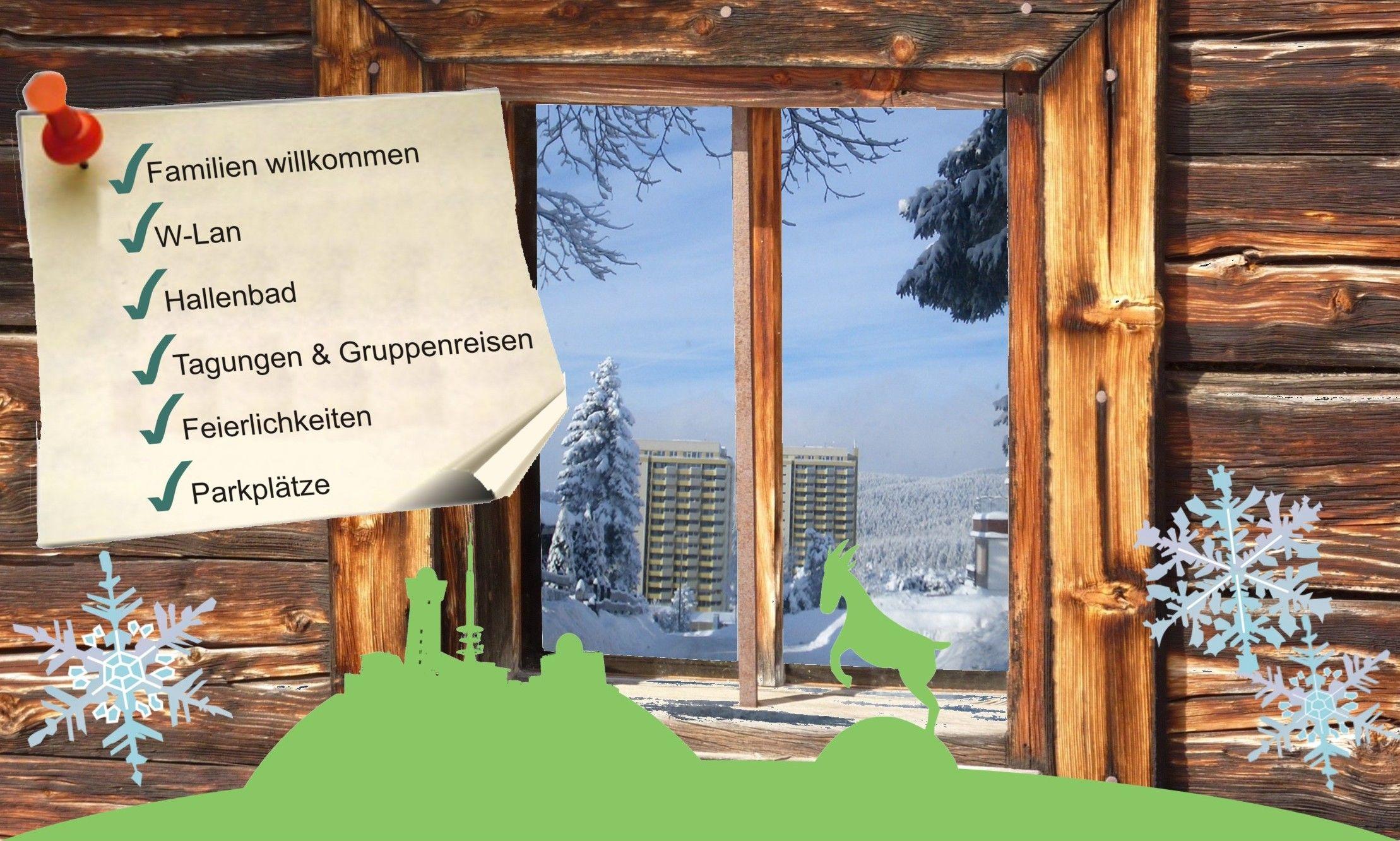 Ferienwohnungen in Braunlage Hohegeiß Harz in großer Ferienanlage für Personen mit Schwimmbad