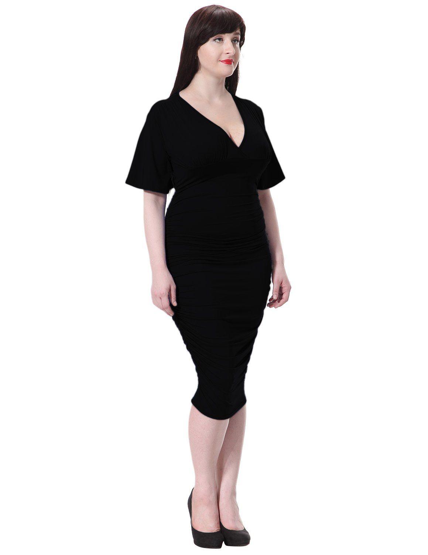 b37a21079e SueandJoe Womens Bodycon Dress Wrap VNeck Ruched Knee Length Plus Size Club  Dress Black Tag Size L=US Size L Plus *** Click image to review more  details.