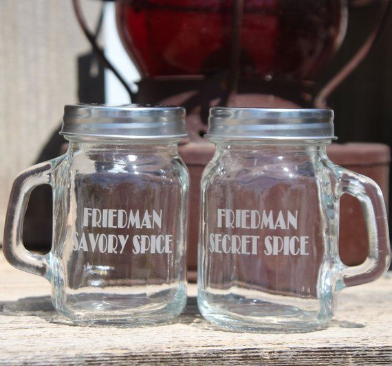 Mason Jar Salt Pepper Shakers Monogrammed Name And Personalized Wording Pep