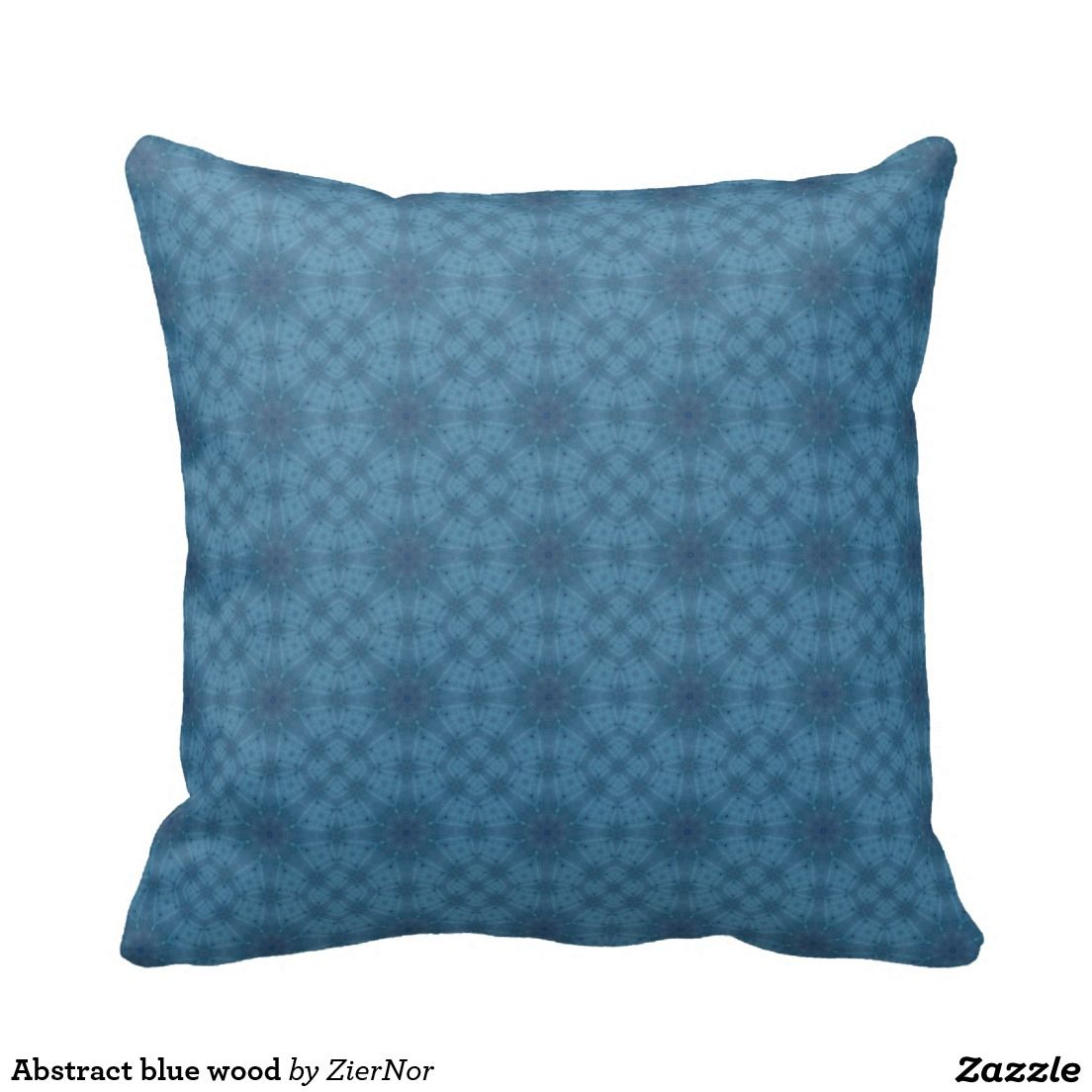 Abstract blue wood throw pillow