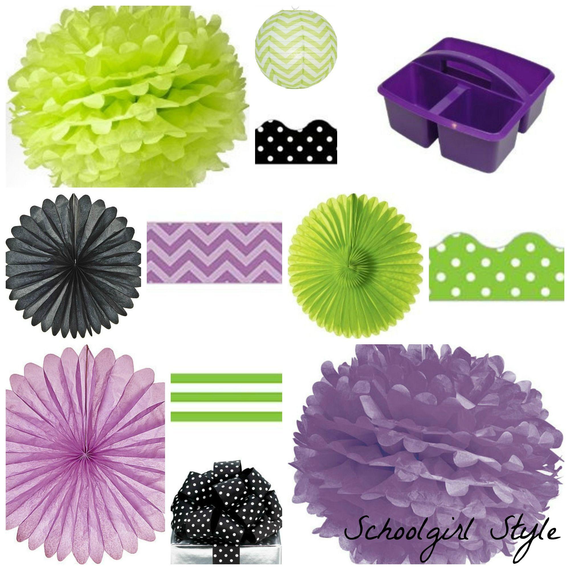 Green Classroom Decor ~ Purple chalkboard lime green black polka dot party by