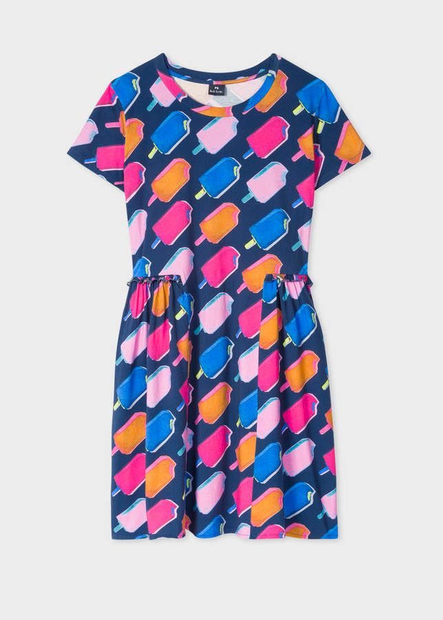e9491470f Women's Designer Dresses, Online Sale & Clearance. Paul Smith Women's Dark  Navy 'Ice Lolly' Print Dress With Ruffle Details