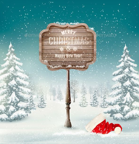 winter background with landscape and a wooden vector