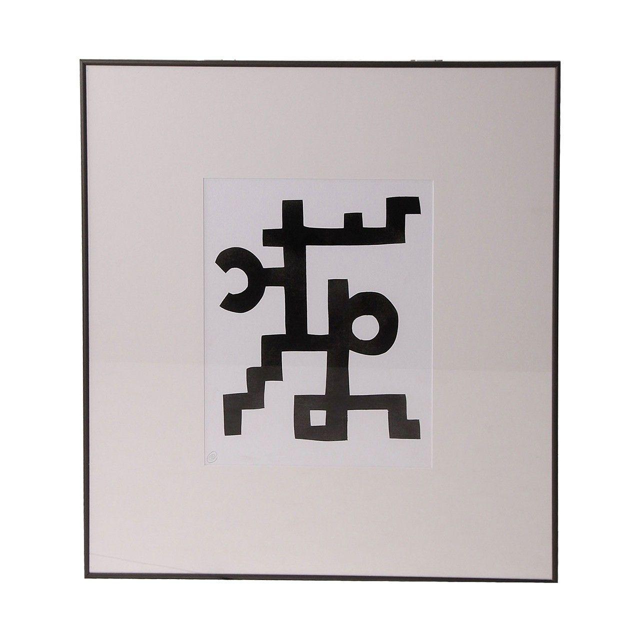 Cuadro lienzo abstracto con l neas gruesas negras for Cuadros y lienzos baratos