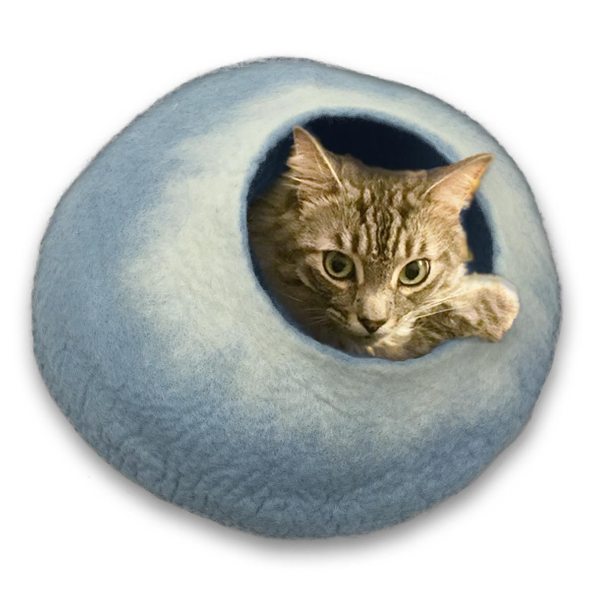 Walking Palm Large Cat Cave Sky Blue And White Cat Bed