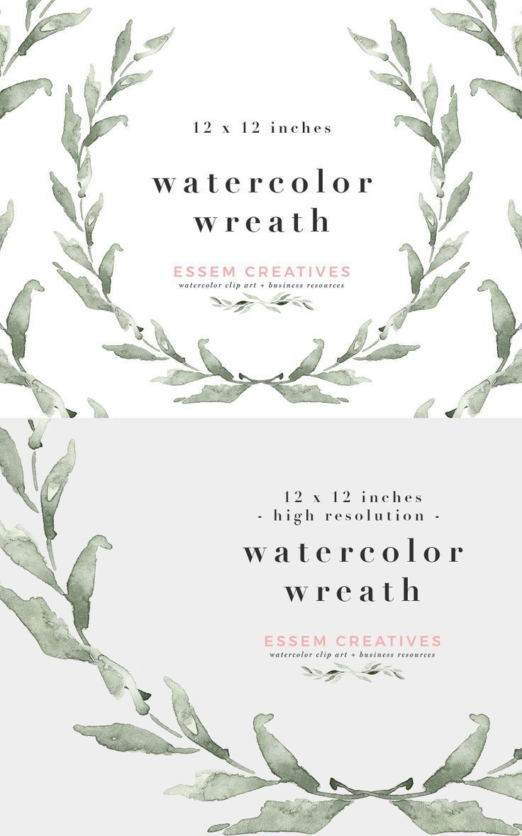 Watercolour Wreath PNG Rustic Clipart Leaves Frame SVG Instant Download Sage Green