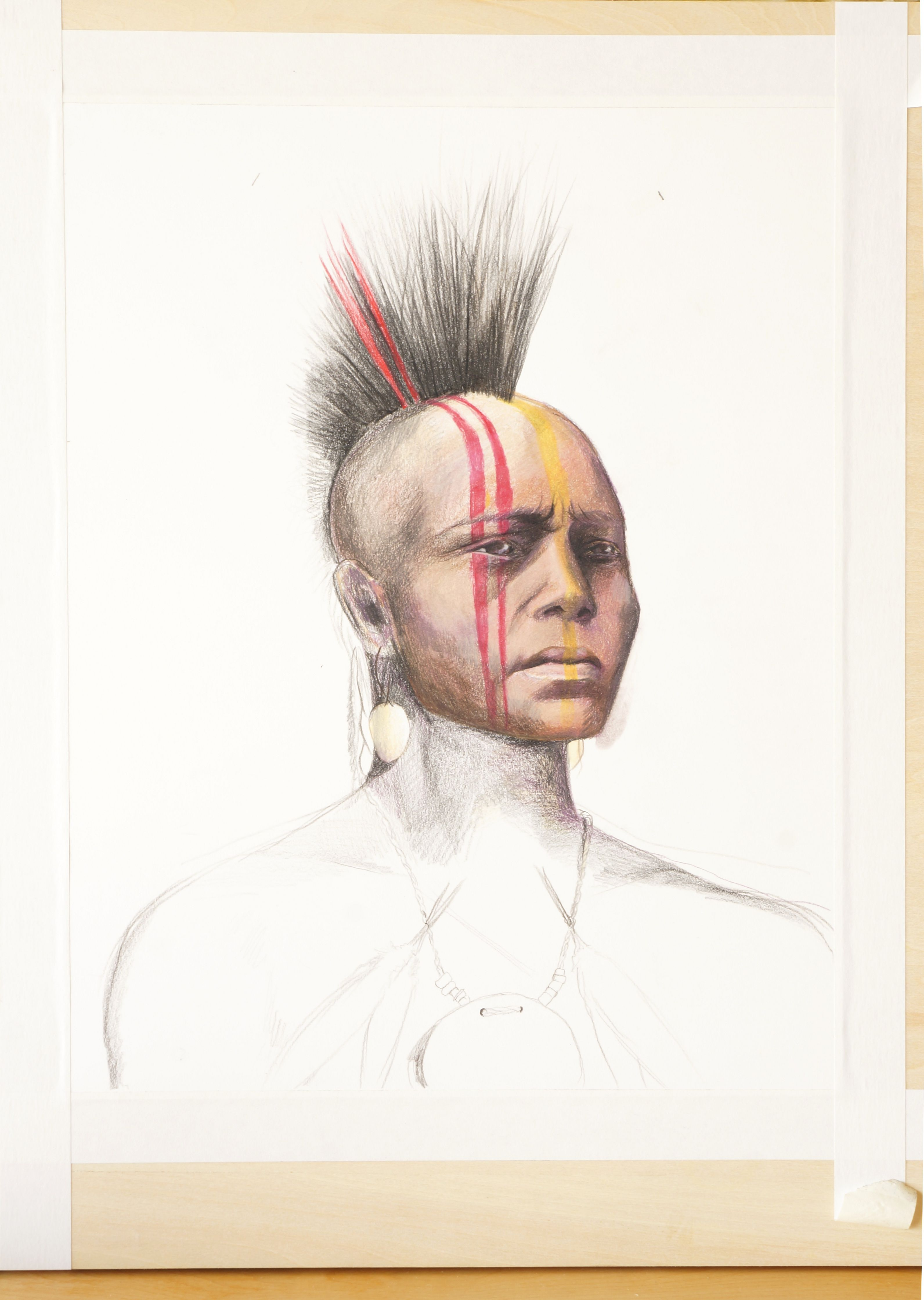 Warrior I am working on in Colored Pencil