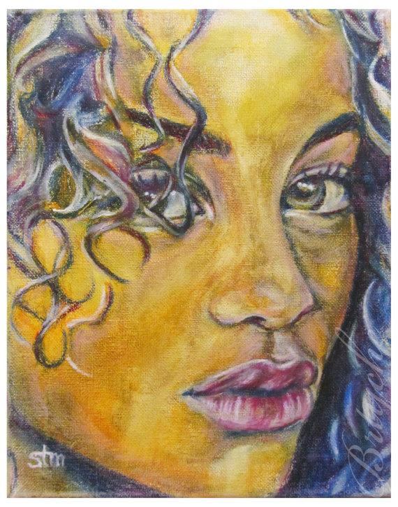 African American, Modern Art, Portrait, Wall Decor, Art Print, Afro ...
