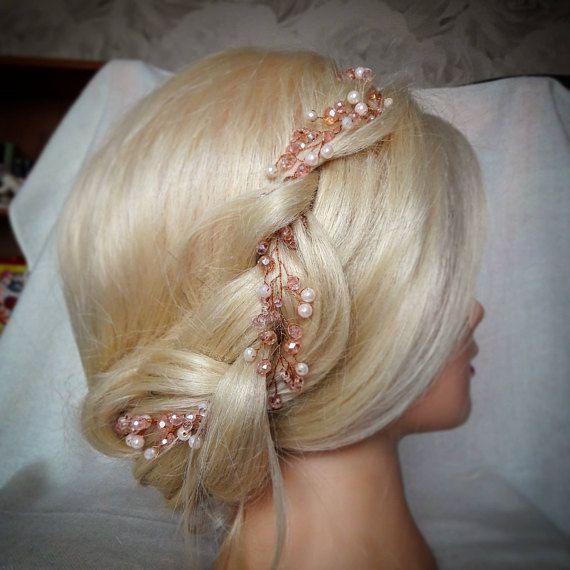 Reizvolle Gold stieg Braut Haar Rebe reich an Perle und Shigning