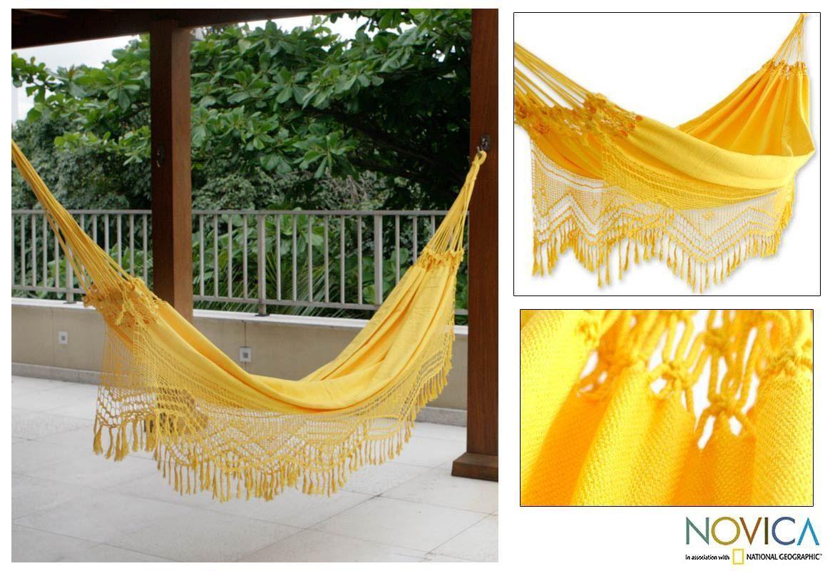 Handmade Amazon Sun Cotton Hammock (Brazil) Hammock