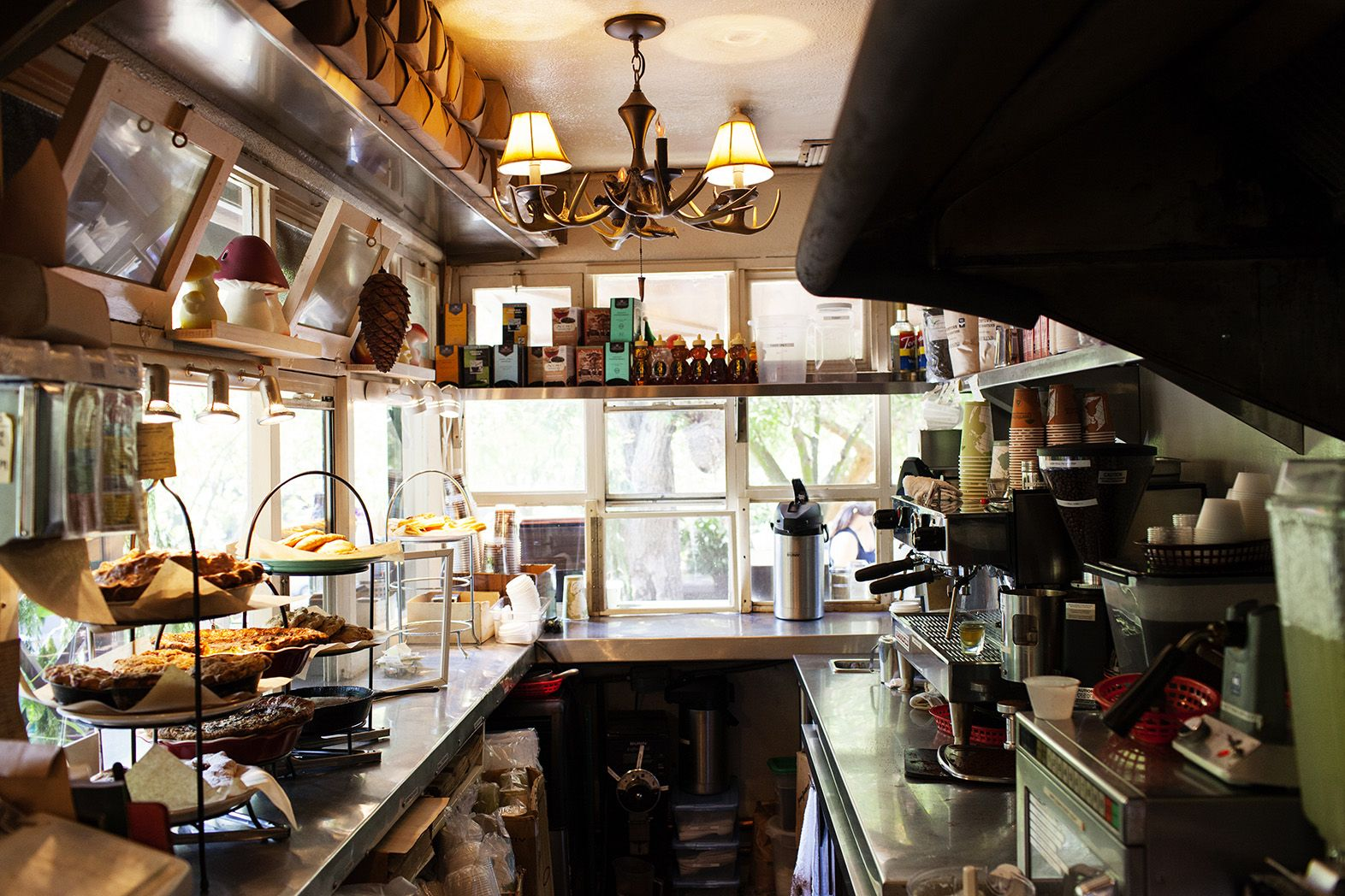 Trails Cafe in Griffith Park, LA. If they can cook in this tiny space anyone can cook pretty much anywhere.