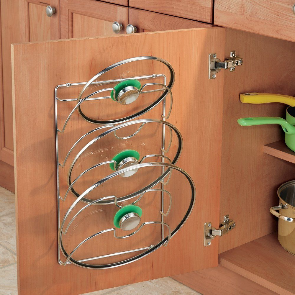 Cabinet Lid Rack holds up to 5 lids and keeps them ...