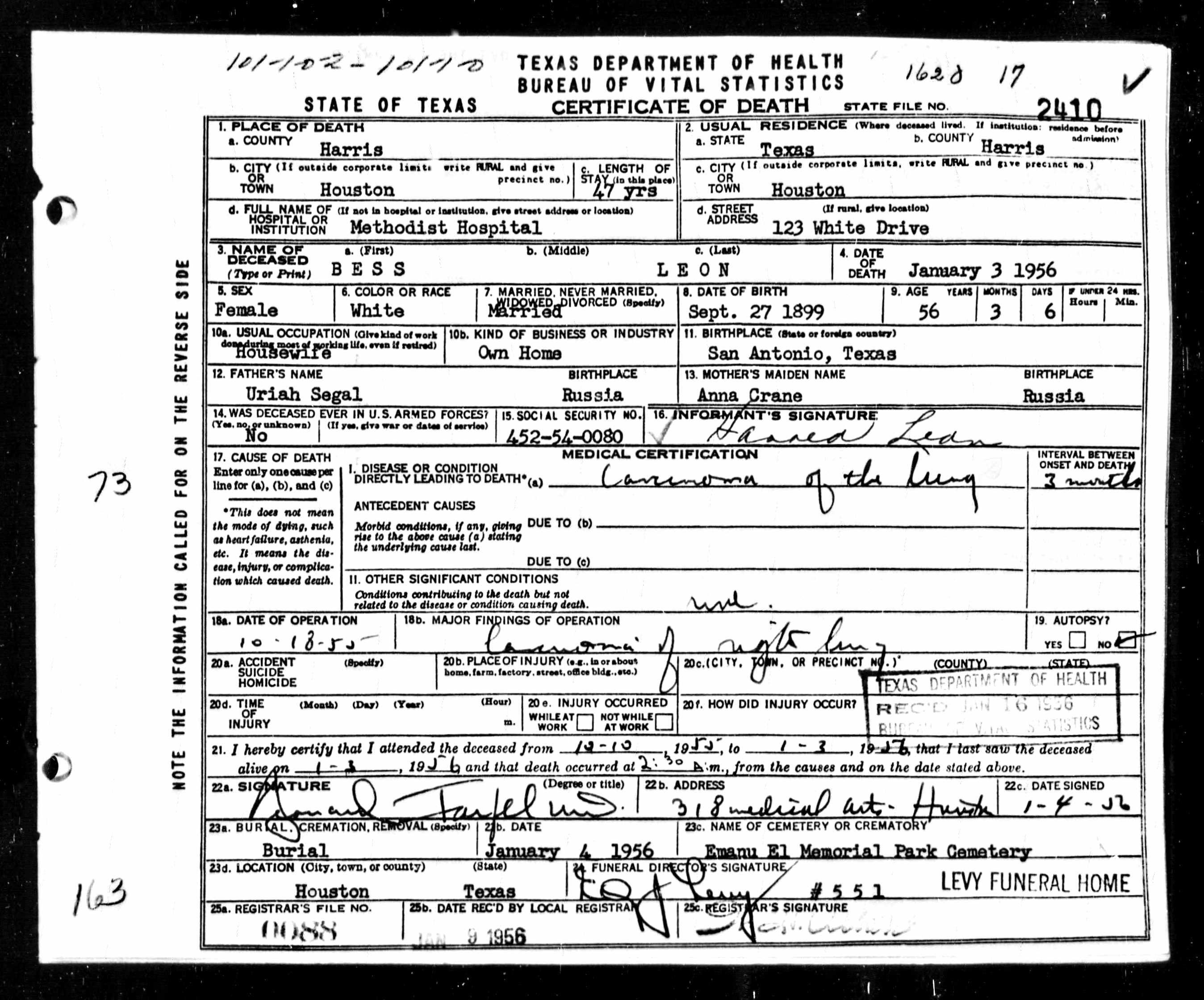 Bess Leon Birth Date 27 Sep 1899 Birth Place San Antonio Texas