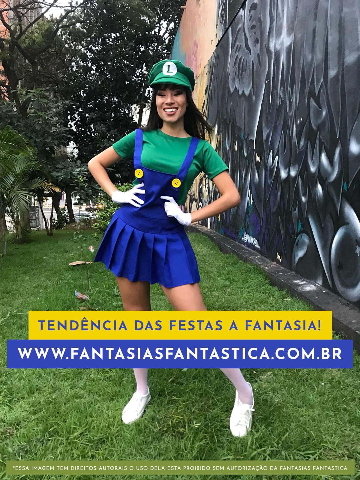 Fantasia Luigi do Super Mario Feminina Cosplay! Sabe aquela festa a fantasia  ou de halloween afa7166dfa9