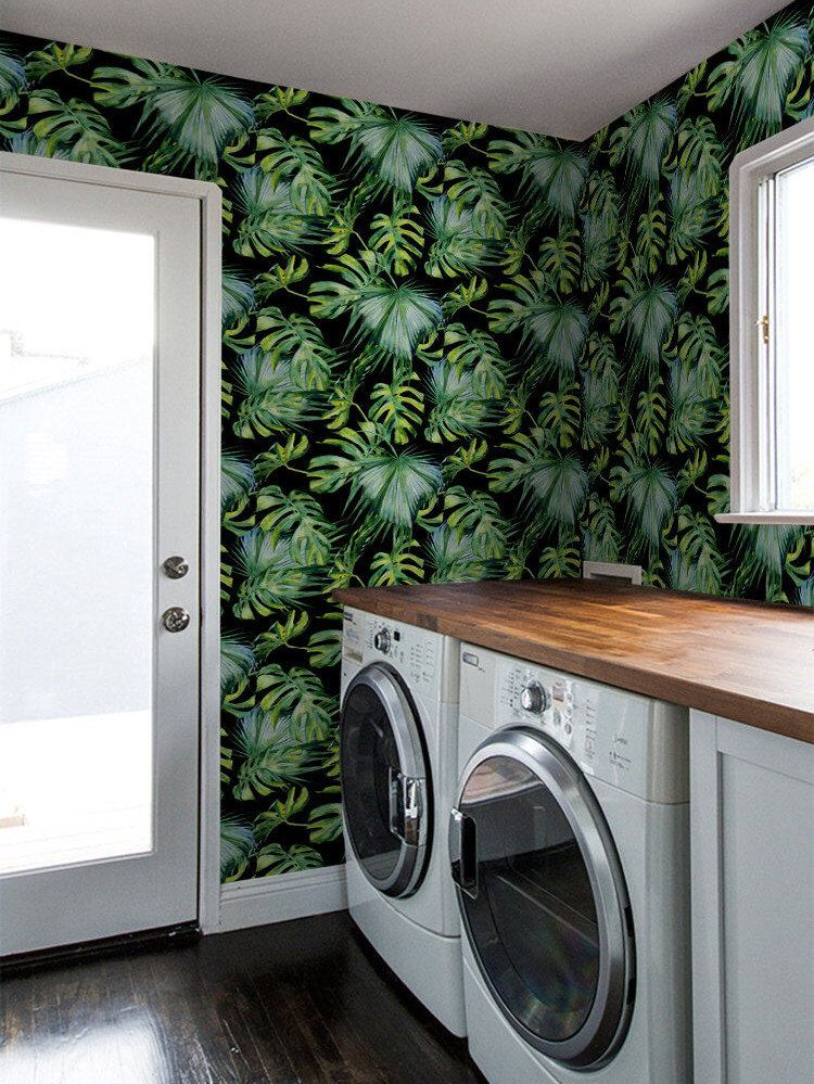 tropical leaf removable wallpaper self adhesive on laundry room wall covering ideas id=66159