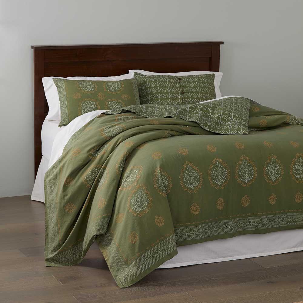 Block Print Mandala Bedding Olive Green Green Bedding Bed Linens Luxury Mandala Bedding