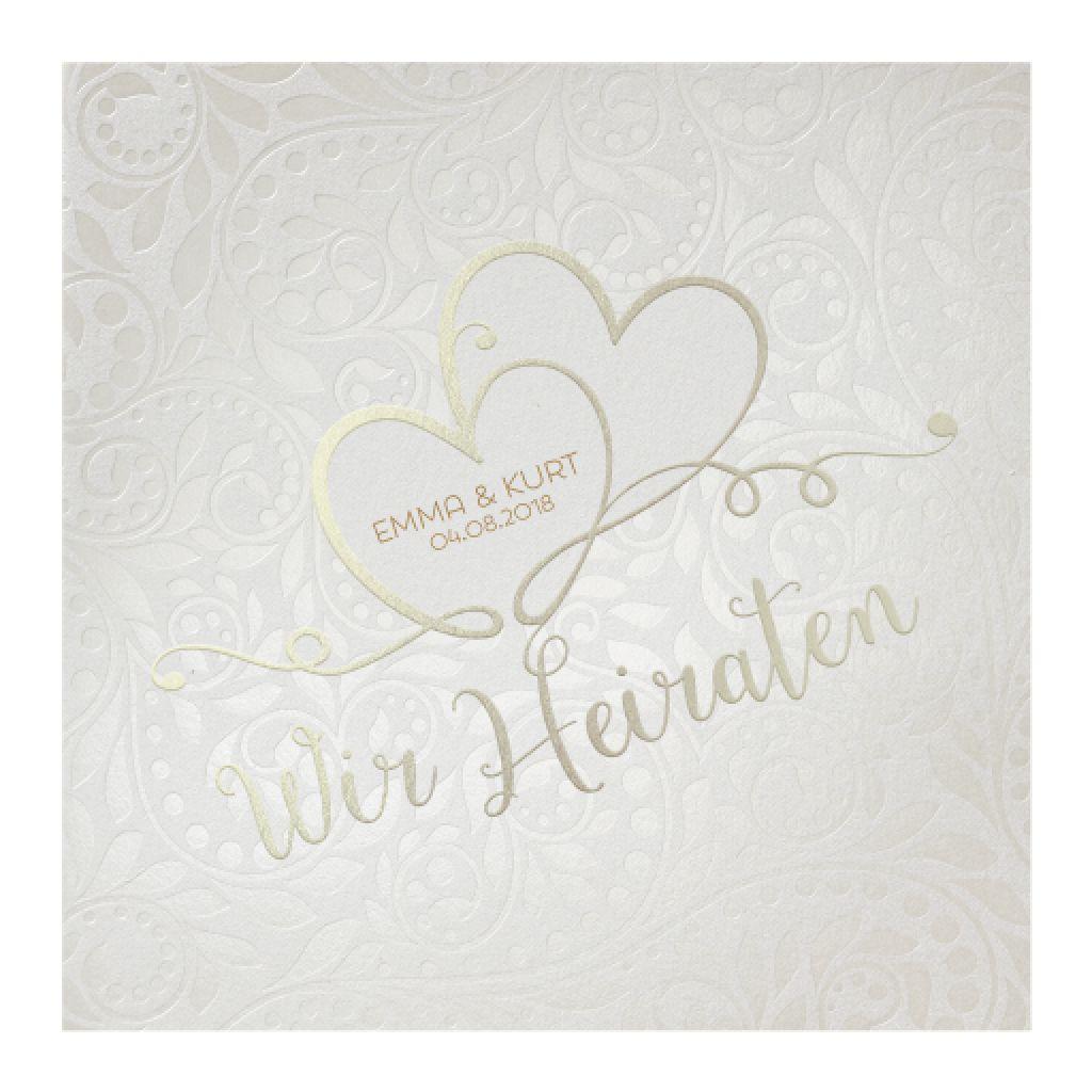 Romantische Hochzeitseinladung auf stilvollem Perlmuttpapier mit