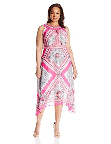 Sandra Darren Womens Plus Size Paidley Print Halter Dress
