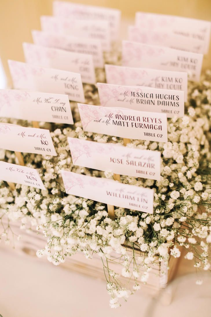 Beautiful Mini Escort Card In A Bed Of Baby S Breath Stunning For A