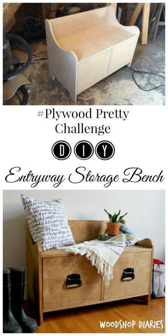Pottery Barn Inspired DIY Entryway Storage Bench PlywoodPretty