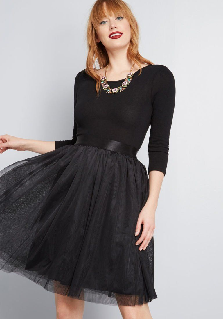 Solid A Line Dress With Tulle Skirt Black Tulle Skirt Outfit Tulle Skirts Outfit Mod Cloth Dresses [ 1097 x 768 Pixel ]