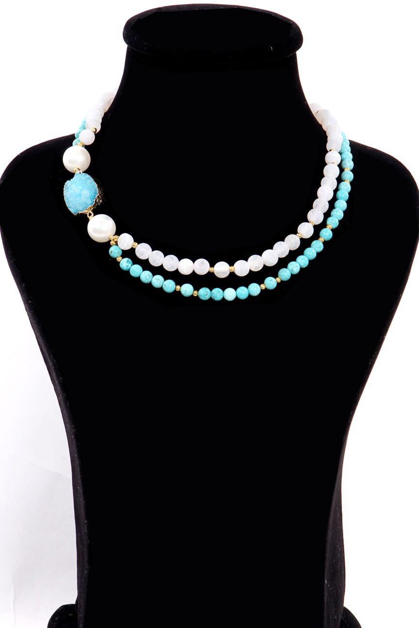Natural frosted Agate and Turquoise - bright!