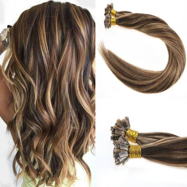 Flat Keratin Tip Dark Brown With Cameral Blonde Fusion Hair