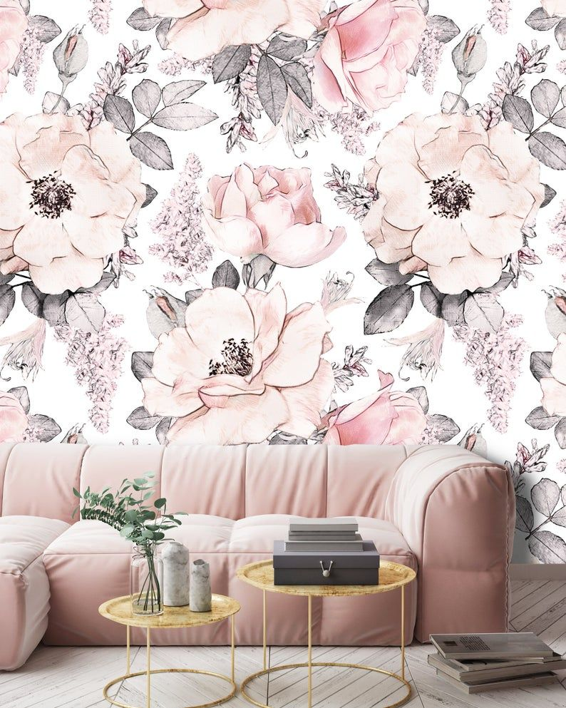 Removable Peel N Stick Wallpaper Self Adhesive Wall Etsy In 2020 Girls Room Wallpaper Nursery Room Decor Girl Pink Floral Wallpaper